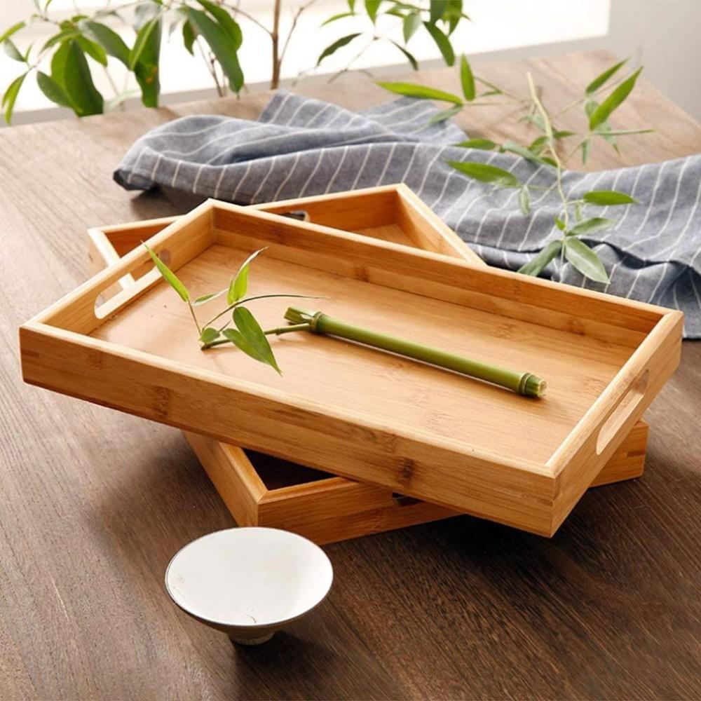 Поднос с ручками бамбуковый