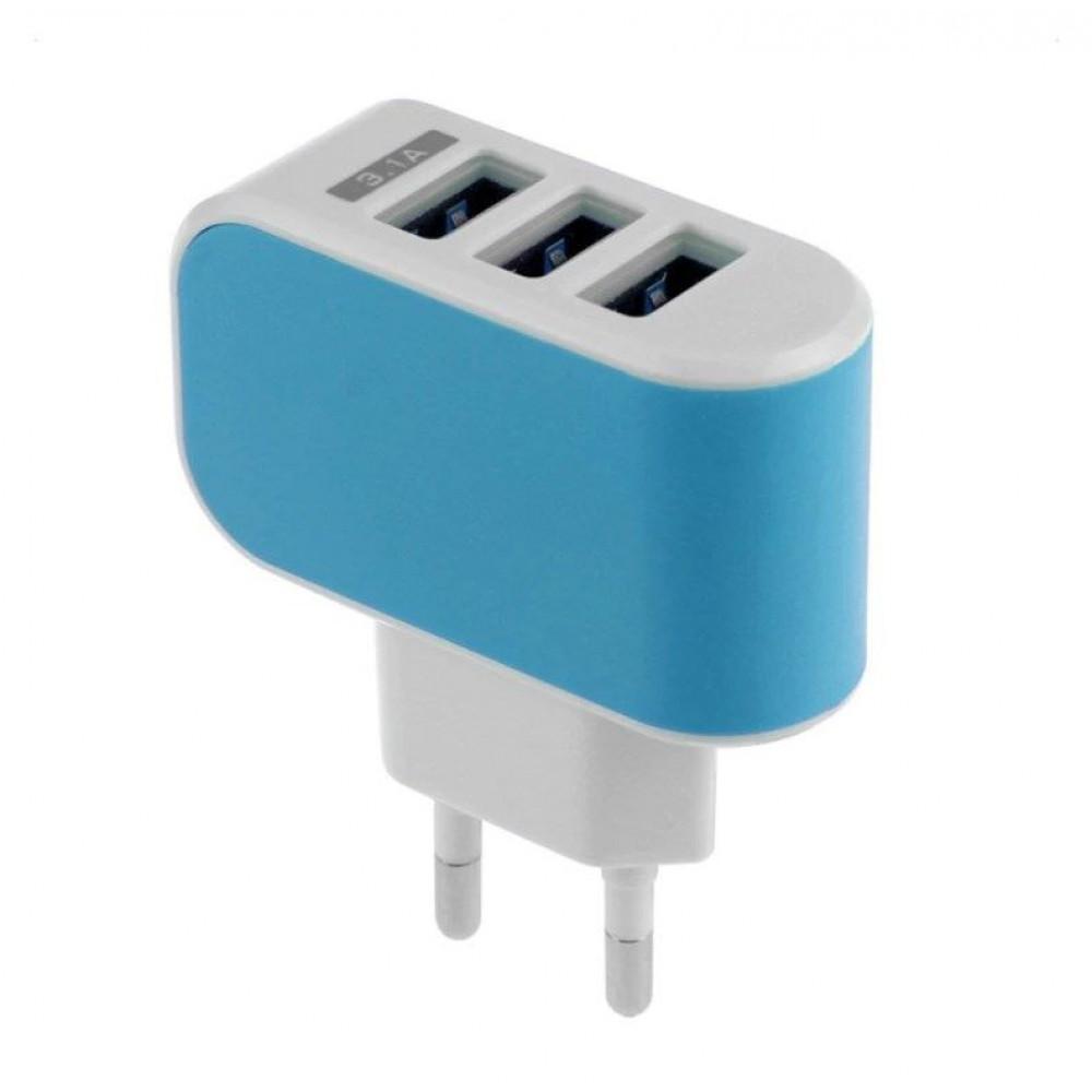 Зарядное сетевое устройство с тремя USB входами